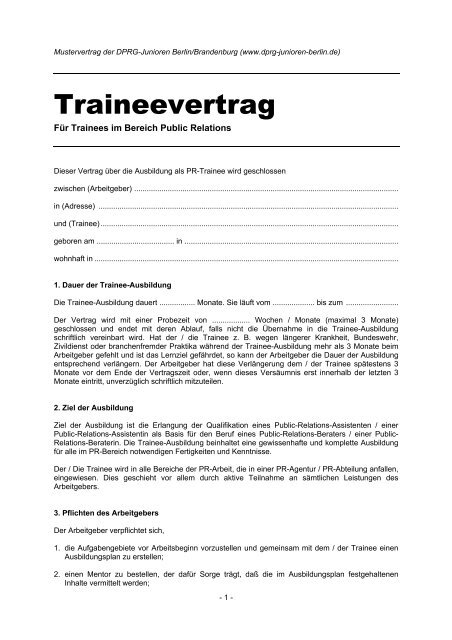Mustervertrag Trainee