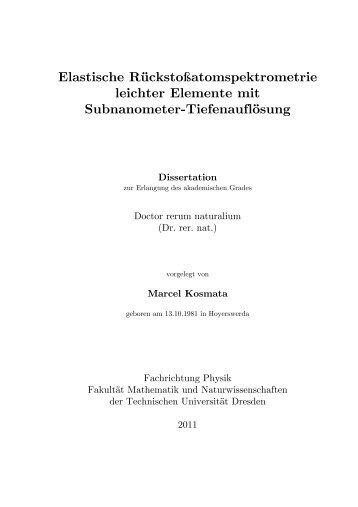 Elastische Rückstoßatomspektrometrie leichter Elemente ... - Qucosa