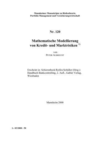 Nr. 120 Mathematische Modellierung von Kredit- und Marktrisiken