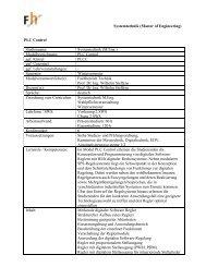 Systemtechnik (Master of Engineering) PLC Control Studiengang ...
