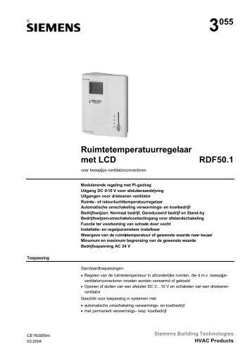 3055 Ruimtetemperatuurregelaar met LCD RDF50.1 - Siemens