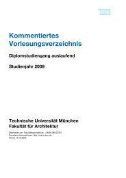 kommentiertes Vorlesungsverzeichnis 2009 - Fakultät für Architektur ...