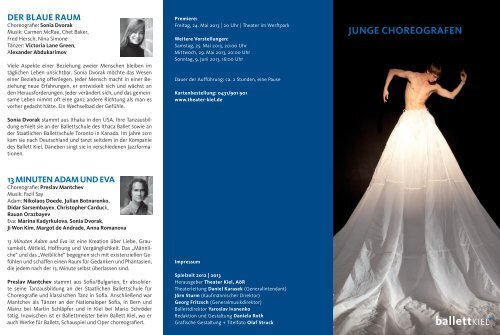 JunGe CHOreOGraFen - Theater Kiel