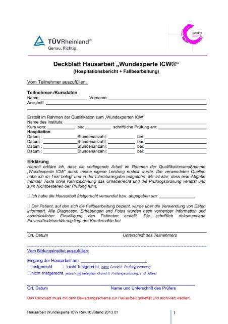 Deckblatt Hausarbeit Wundexperte Icw