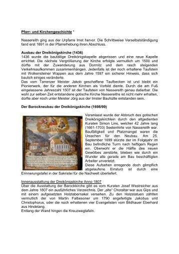 Pfarr- und Kirchengeschichte * Nassereith ging aus der Urpfarre ...