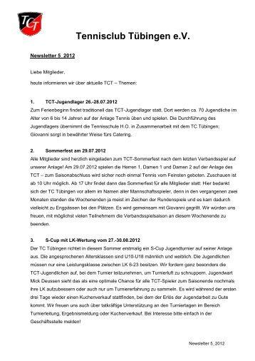 Newsletter 5/2012 - TC Tübingen