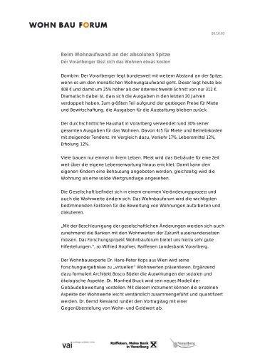 Pressemitteilung Wohnbauforum 20.10.03