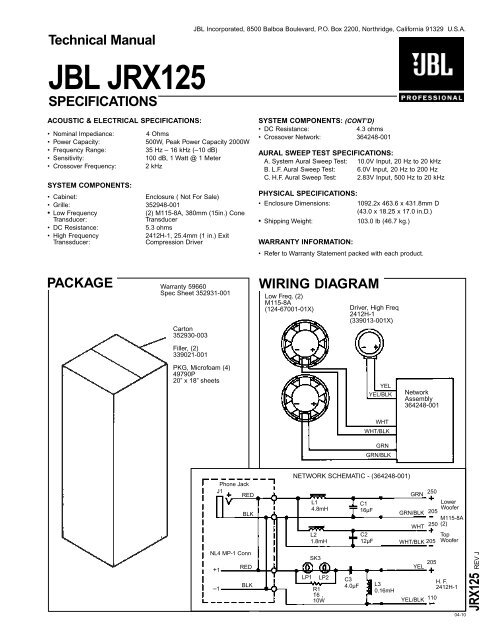 Jbl Crossover Wiring Diagram