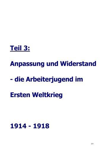 die Arbeiterjugend im Ersten Weltkrieg 1914 - 1918