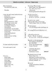 2 Inhaltsverzeichnis / Adressen / Impressum - Ev.  Kirchengemeinde ...