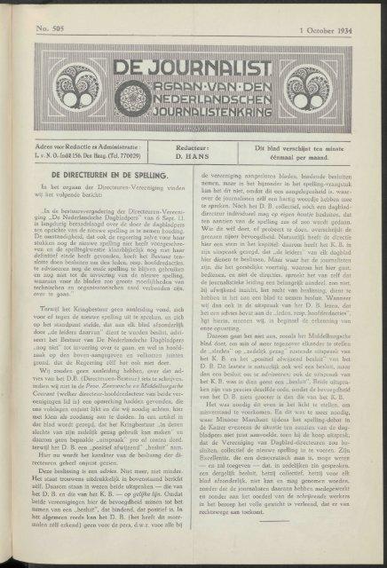 mm No. 505 1 October 1934 DE DIRECTEUREN EN DE SPELLING.