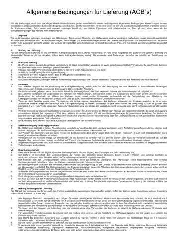 Allgemeine Bedingungen für Lieferung (AGB´s) - MBTD ...