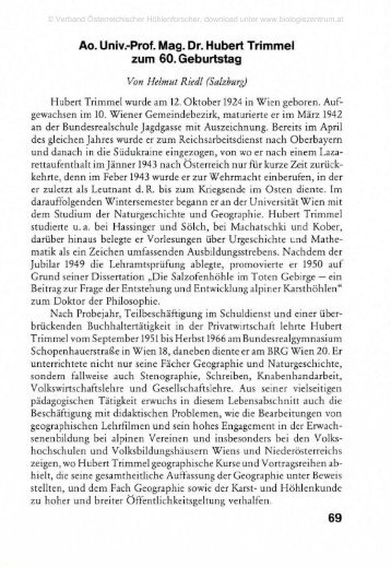 Ao. Univ.-Prof. Mag. Dr. Hubert Trimmel zum 60. Geburtstag 69