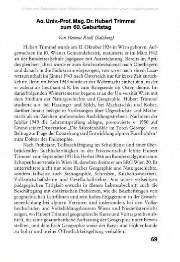 Dr. Hubert Trimmel Zum 60.