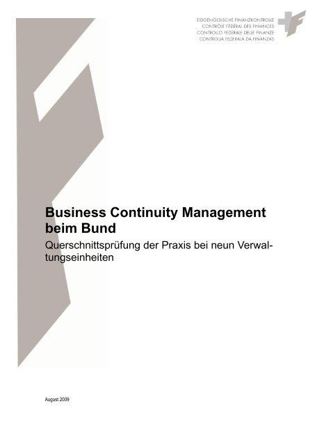 Business Continuity Management beim Bund