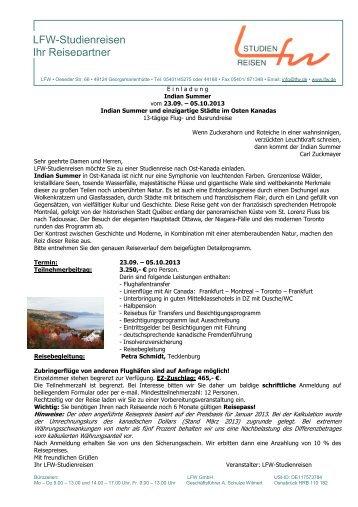 Programm (PDF) - LFW Studienreisen