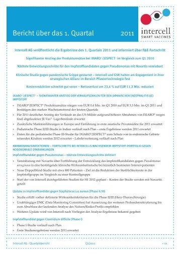 Intercell AG veröffentlicht die Ergebnisse des 1. Quartals ... - Chemie.at