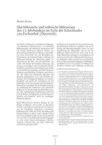 Das böhmische und mährische Münzwesen des 13. Jahrhunderts ...