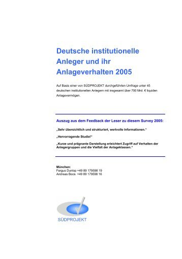 Deutsche institutionelle Anleger und ihr Anlageverhalten 2005