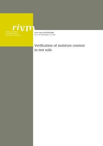 Verification of moisture content in test soils - RIVM