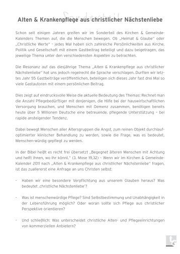 Sonderteil - Kirchen & Gemeinde-Kalender