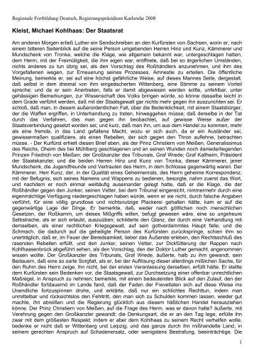 Kleist, Michael Kohlhaas, Der Staatsrat