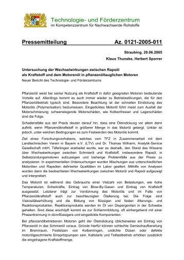 Untersuchung der Wechselwirkungen zwischen ... - TFZ - Bayern
