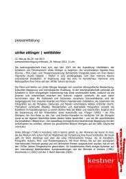 pressemitteilung ulrike ottinger | weltbilder - Kestnergesellschaft
