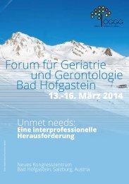 Forum für Geriatrie und Gerontologie Bad Hofgastein ...