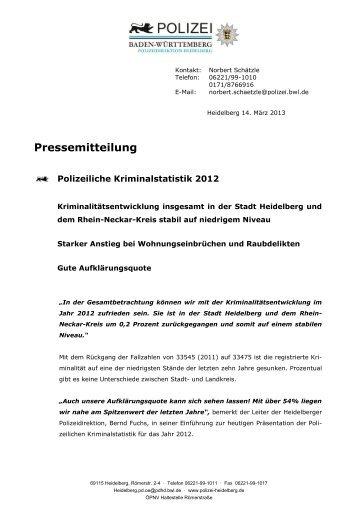 Polizeiliche Kriminalstatistik 2012 - Stadtpolitik Heidelberg