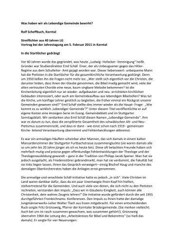 Was haben wir als Lebendige Gemeinde bewirkt? Rolf Scheffbuch ...