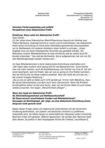 Perspektiven eines Diakonischen Profils zwischen Anforderungen ...