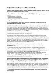 Merkblatt: Häufige Fragen zum PKV-Tarifwechsel - VERSMA