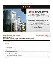 Kapitalanlage und Steuern Themenbrief 16/2012 Zertifikate 1 - Axis