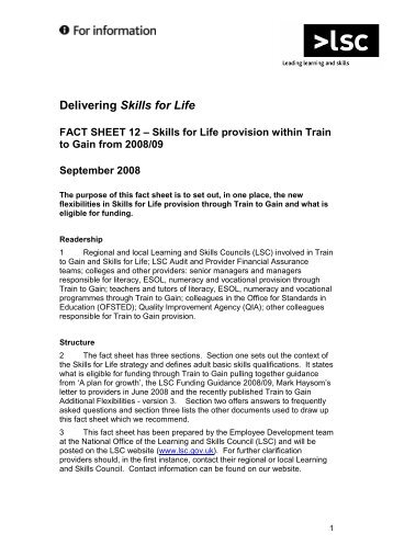 Factsheet 12 - Skills for Life in Train to Gain - lsc.gov.uk - Learning ...