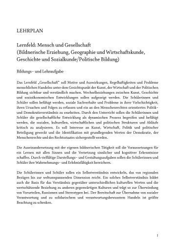 LEHRPLAN Lernfeld: Mensch und Gesellschaft ... - BRG in der Au