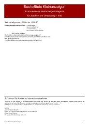 SucheBiete Kleinanzeigen-Magazin Jüchen - Kostenlose ...