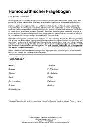 Patientenfragebogen - Praxis für klassische Homöopathie in Zürich