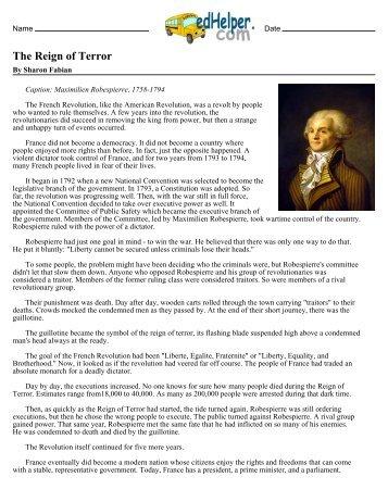 robespierre reign of terror essay