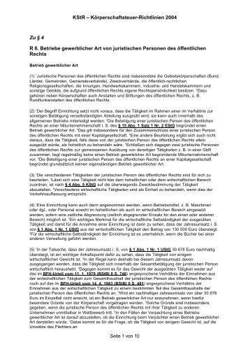 KStR – Körperschaftsteuer-Richtlinien 2004 Zu § 4 ... - Hochschulkurs
