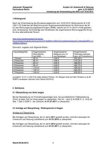 Jobcenter Wuppertal Kosten für Unterkunft & Heizung Fachreferat ...
