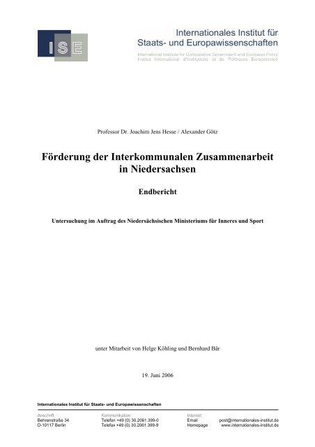 Forderung Der Interkommunalen Zusammenarbeit In Niedersachsen