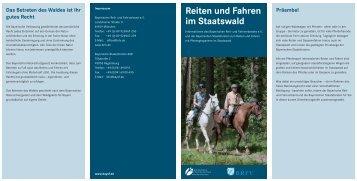 Reiten und fahren im staatswald (PDF - Bayerische Staatsforsten