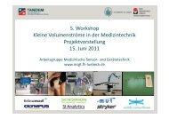 5. Workshop Kleine Volumenströme in der Medizintechnik ...