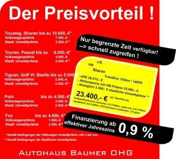 Die Umweltprämie - Autohaus Baumer OHG