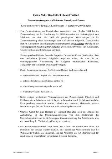 Daniela Weber-Rey, Clifford Chance Frankfurt Zusammensetzung des ...