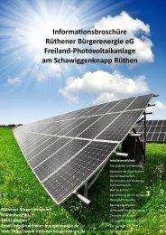 Informationsbroschüre der Rüthener Bürgerenergie eG