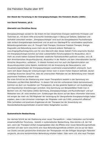 Die Feinstein Studie über EFT