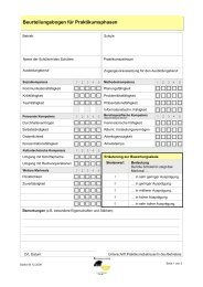 Beurteilungsbogen für Praktikumsphasen