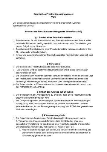 Bremisches Prostitutionsstättengesetz - Dona Carmen e. V.